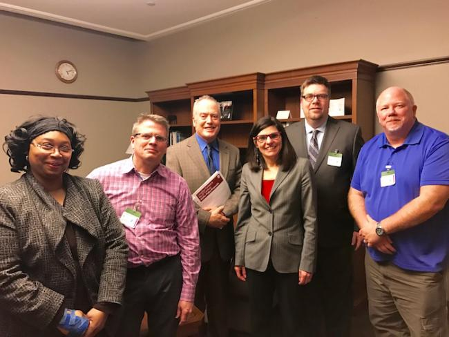 Unifor media members meet Liberal MP Filomena Tassi (Hamilton West-Ancaster-Dundas) in Ottawa to discuss the importance of supporting news and journalism in a time of crisis for the media industry. From left, Jackie McIntosh, Pat Darrah, Stephen Hawkins, Filomena Tassi, Paul Morse, Ron Tupper.