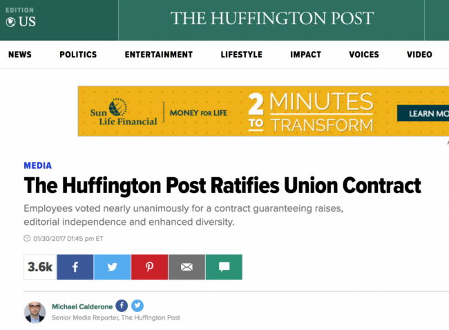 Unionized members of Huffington Post US are now the largest group of digital news site workers to be covered by a collective agreement.