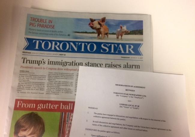 Unionized Toronto Star workers have ratified a new contract.